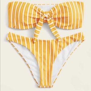 Striped knot front bandeau bikini set